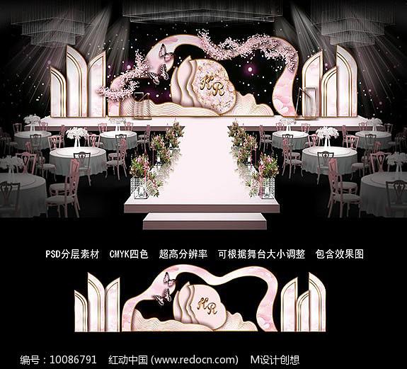 浅粉色婚礼背景板图片