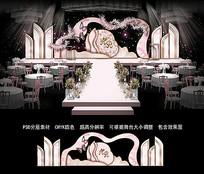 浅粉色婚礼背景板