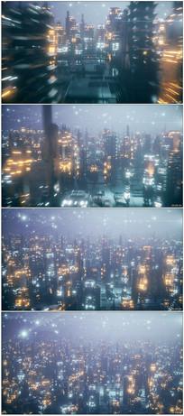 未来科技城市夜景穿行视频