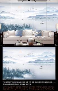 新中式山水风景电视背景墙