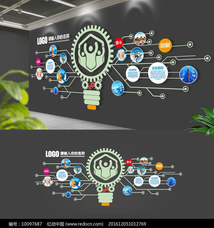 创意灯泡电路科技企业文化墙图片