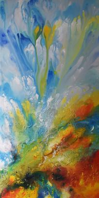 凤凰涅槃高清抽象手绘立体油画