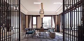 新中式豪宅别墅茶桌意向