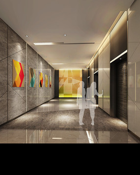 酒店电梯厅效果图