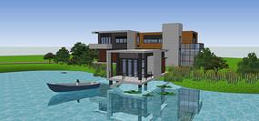 现代风格山地临湖别墅模型