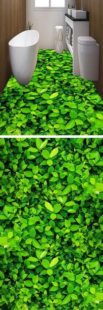 清新草地3D地板装饰画