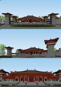 汉唐风庙宇建筑模型