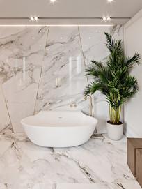 灰色简约元素瓷砖洗手间