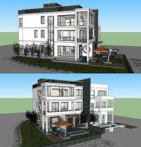 新中式别墅建筑模型
