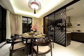 现代简约中式餐厅厨房镂空隔板