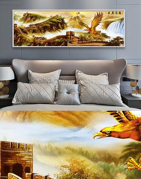 新中式万里长城客厅金色装饰画