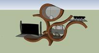 创意木质结构书架定制