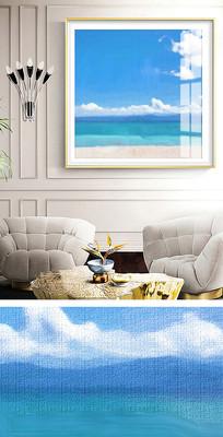 简约抽象大海风景油画装饰画