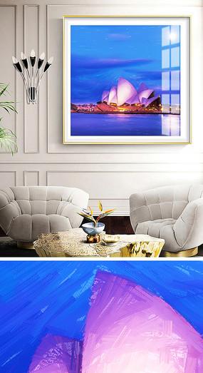 简约悉尼风景油画抽象装饰画