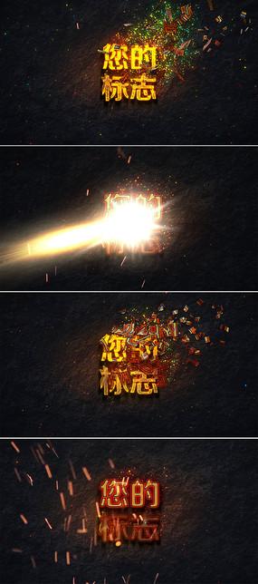 震撼粒子火花金色标志片头视频模板