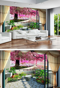樱花树小清新风景壁画背景墙
