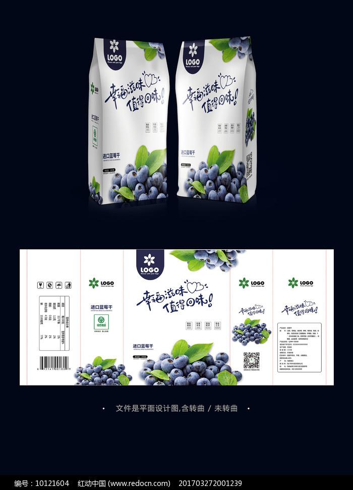 蓝莓干果脯食品包装袋设计图片