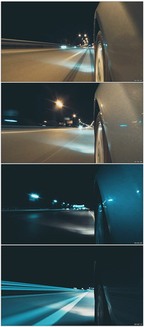 夜晚快速行驶车流视频
