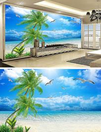 清新沙滩电视背景墙