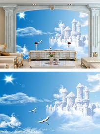 唯美天空电视背景墙壁画