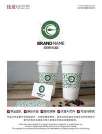 字母E奶茶咖啡茶饮店LOGO