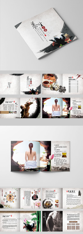 中国风传统水墨养生之道画册