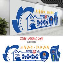 蓝色大气警察公安文化墙设计