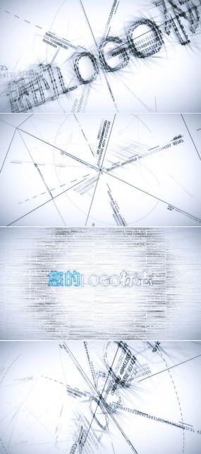 数字素描科技标志片头ae模板