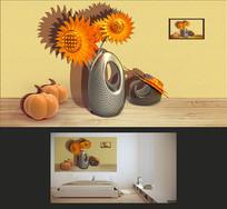 3D立体向日葵南瓜装饰画