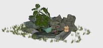 石头堆积园林景观小品SU模型