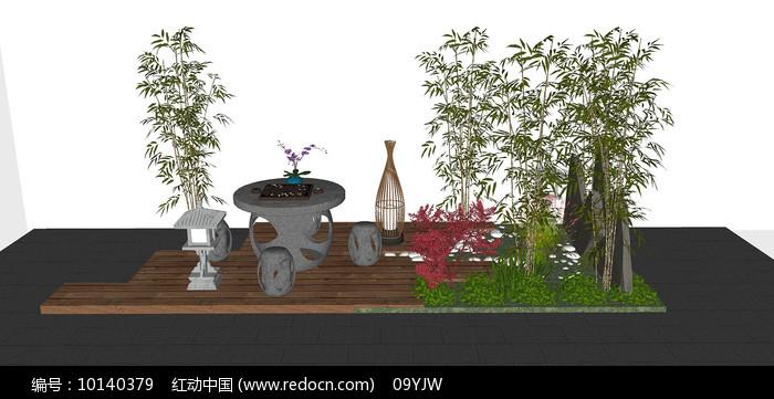 中式花园景观茶座SU模型图片