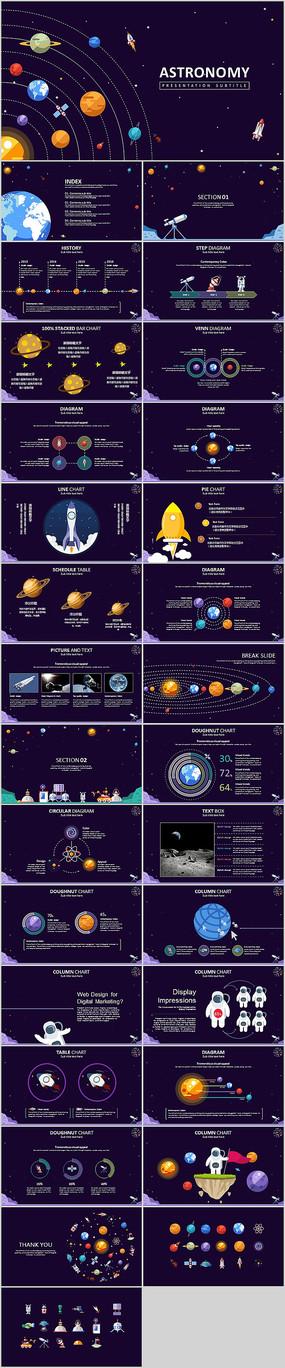 星球卡通宇宙科技PPT模板 pptx