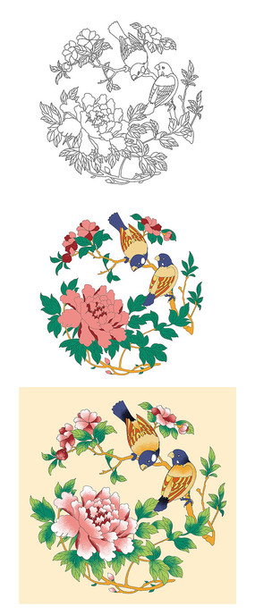 中式宫廷花鸟雕刻图案