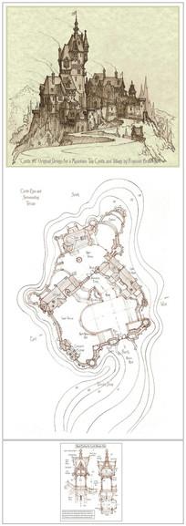古堡建筑群透视手绘