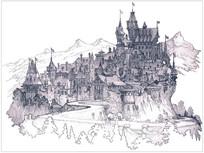 古堡建筑群透视手绘意向