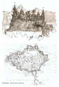 古堡群建筑手绘透视室内平面