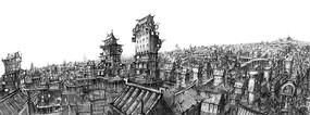 幻想城镇屋顶线稿
