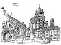欧式古堡建筑手绘