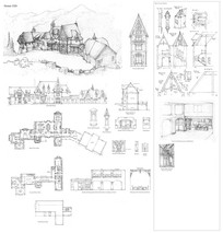 欧式古堡建筑线稿细节手绘