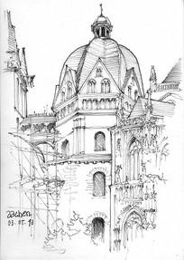 欧式古堡线描手绘