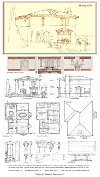 平顶欧式古典建筑线稿