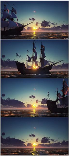 4k海上日出帆船航行视频