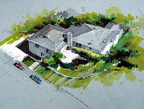 彩色手绘画住宅鸟瞰
