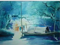 彩色乌篷船水墨画