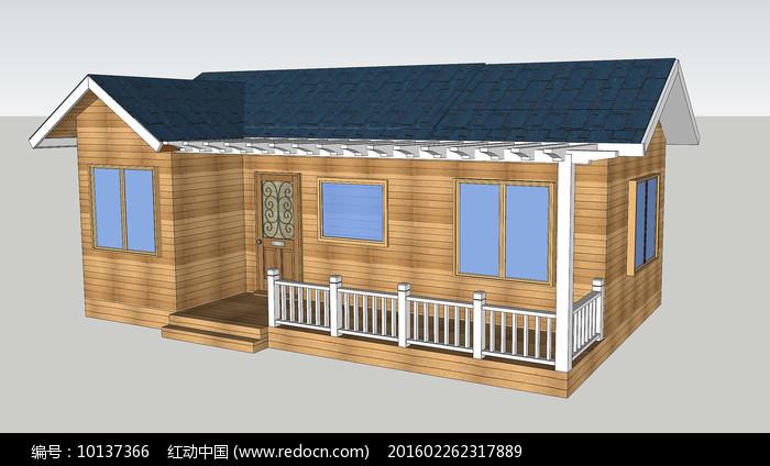 防腐木木屋su图片
