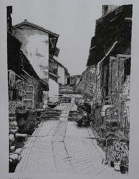 古城街道精细钢笔画