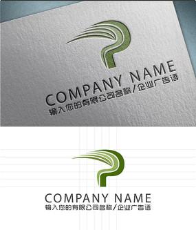 p字母艺术动感logo设计