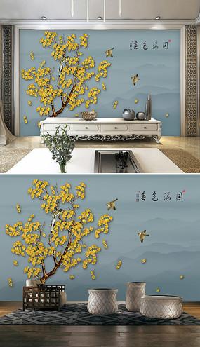 新中式手绘花鸟山水电视背景墙