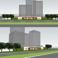 地产围墙围挡形象墙SU模型