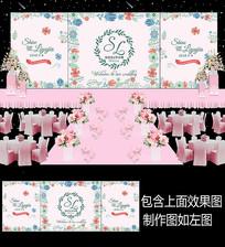 时尚小清新花卉婚礼舞台背景板